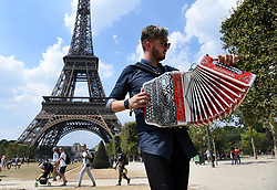 A bullet-proof glass wall is to be built around the base of the Eiffel Tower as part of a plan to provide extra protection against terrorist attacks at one of the world's most famous landmarks, The 2.5-meter high wall will cost around 20 million euros and will replace the metal barriers set up as a temporary measure around the iconic tower in Paris, France on July 22, 2018. Photo by Alain Apaydin/ABACAPRESS.COM