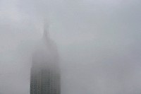 Empire State Building in fog, NYC