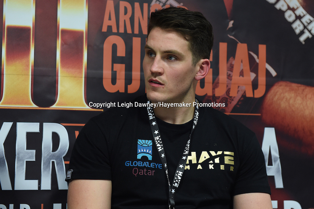 David Haye's trainer Shane McGuigan looks on during the post fight press conference after David Haye defeated Arnold Gjergjaj in a heavyweight contest at the 02 Arena, London on the 21st May 2016. Photo credit: Leigh Dawney/Hayemaker Promotions