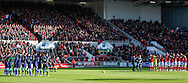 Both teams observe a minutes silence before the Sky Bet Championship match at Ashton Gate, Bristol<br /> Picture by Mike Griffiths/Focus Images Ltd +44 7766 223933<br /> 21/11/2015