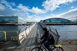 Glasgow Science Centre (right) and the BBC Scotland building (left), Pacific Quay, Glasgow, Scotland, UK.