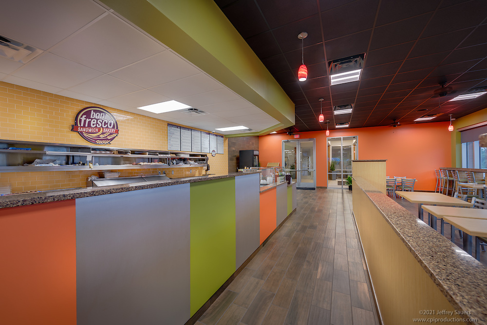 Interior photo of  Bon Fresco Restaurant in Laurel Maryland by Jeffrey Sauers of Commercial Photographics, Architectural Photo Artistry in Washington DC, Virginia to Florida and PA to New England