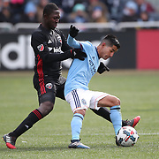 NEW YORK, NEW YORK - March 12:  Maximiliano Moralez #10 of New York City FC is challenged by Patrick Nyarko #12 of D.C. United during the NYCFC Vs D.C. United regular season MLS game at Yankee Stadium on March 12, 2017 in New York City. (Photo by Tim Clayton/Corbis via Getty Images)