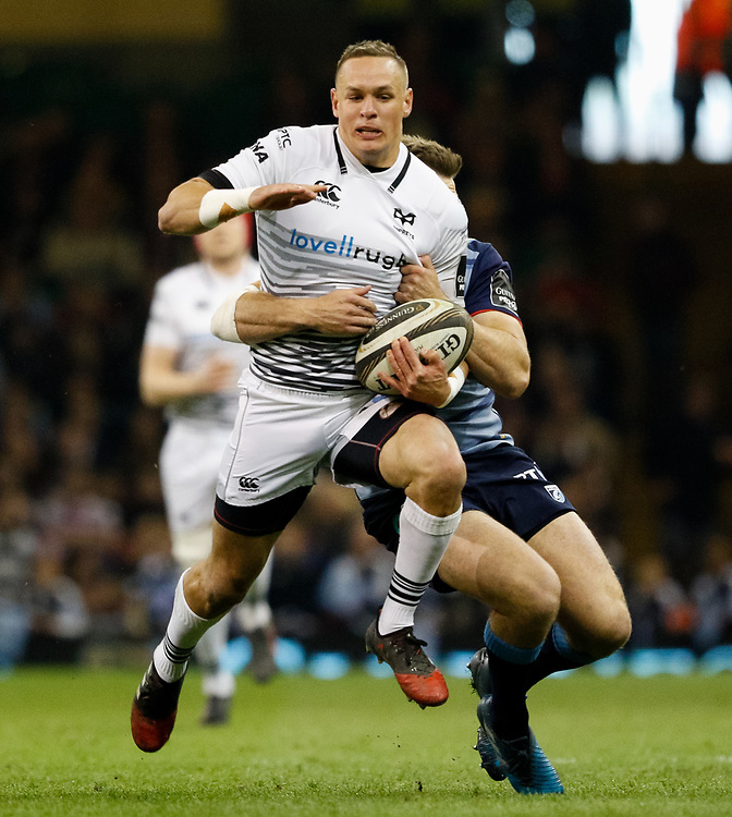 Ospreys' Hanno Dirksen under pressure from Cardiff Blues' Garyn Smith<br /> <br /> Photographer Simon King/Replay Images<br /> <br /> Guinness PRO14 Round 21 - Cardiff Blues v Ospreys - Saturday 28th April 2018 - Principality Stadium - Cardiff<br /> <br /> World Copyright © Replay Images . All rights reserved. info@replayimages.co.uk - http://replayimages.co.uk