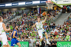 Zoran Dragic of Slovenia and Drilon HAJRIZI of Kosovo during qualifying match between Slovenia and Kosovo for European basketball championship 2017,  Arena Stozice, Ljubljana on 31th August, Slovenia. Photo by Grega Valancic / Sportida