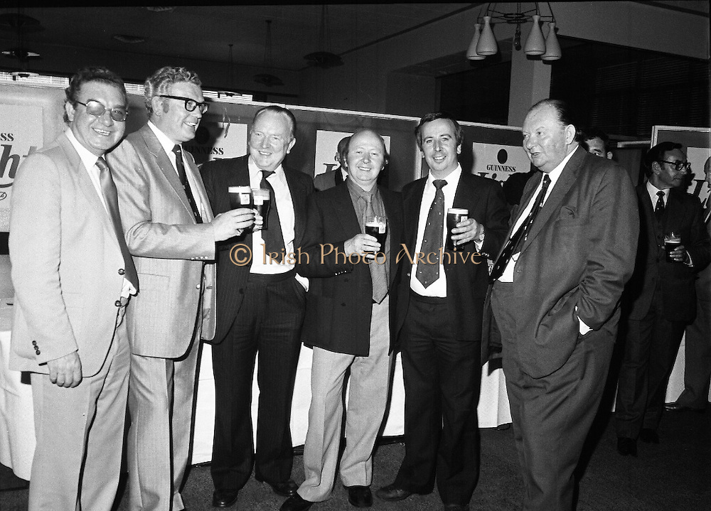 "Guinness Launch ""Guinness Light"".  (M79)..1979..26.06.1979..06.26.1979..26th June 1979..At the Guinness Theatre in St James Gate Brewery,Guinness launched ""Guinness Light"". With a spectacular show Guinness brought to the market a new lighter version of its world famous stout. it is hoped that it will fill a niche with younger drinkers frequenting Ireland's pubs and clubs..A happy group pictured quaffing pints of the new Guinness Light."