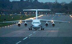 © Licensed to London News Pictures. 11/03/2019. London, UK. Prime Minister Theresa May's plane prepares for take off from RAF Northolt where, it is thought, she is flying to Strasbourg for last minute talks with EU leaders ahead of tomorrow's crucial Brexit withdrawal vote in Parliament. Photo credit: Peter Macdiarmid/LNP