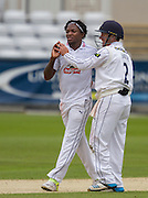 Fidel Edwards (Hampshire CCC) celebrates after taking the wicket of W J Wighell (Durham County Cricket Club) during the LV County Championship Div 1 match between Durham County Cricket Club and Hampshire County Cricket Club at the Emirates Durham ICG Ground, Chester-le-Street, United Kingdom on 3 September 2015. Photo by George Ledger.