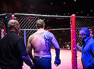 Atlantic City, New Jersey, January 24, 2014: Allen Crowder(black shorts) enters the octagon to face Gil Isabel(not shown) at Ring of Combat 47 at The Tropicana Casino.
