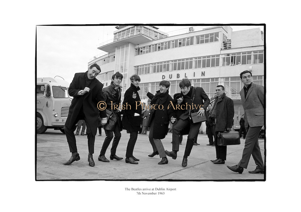 The Beatles at Dublin Airport, pictured with Frank Hall.<br /> <br /> 7th November 1963<br /> 07/11/1963