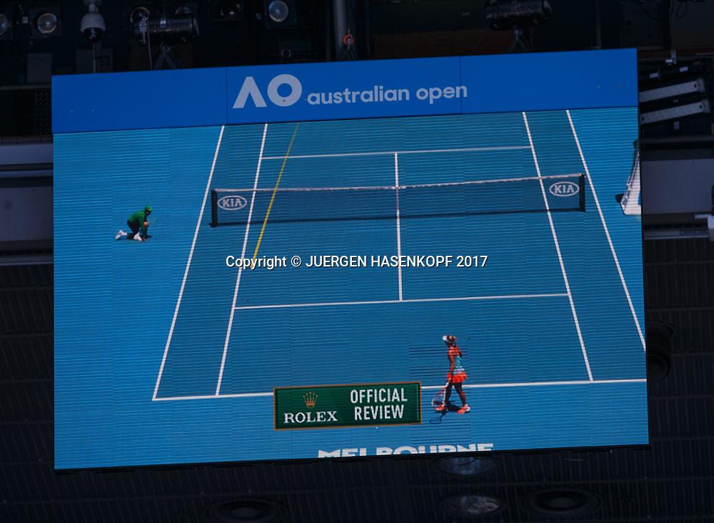 FEATURE, Hawkeye auf dem Stadionmonitor,Detail,<br /> <br /> Australian Open 2017 -  Melbourne  Park - Melbourne - Victoria - Australia  - 18/01/2017.