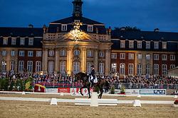 KLIMKE Ingrid (GER), Franziskus 15<br /> Münster - Turnier der Sieger 2019<br /> Preis des  BANKHAUS METZLER<br /> Nat. Dressage competition cl. S**** <br /> Grand Prix Kür/Freestyle <br /> - Flutlicht - <br /> 03. August 2019<br /> © www.sportfotos-lafrentz.de/Stefan Lafrentz