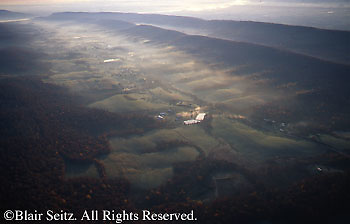 PA Landscapes, Ridge and Valley, Farms, Big Valley, Mifflin County, Blue Ridge Mountains, Aerial Photograph, Pennsylvania