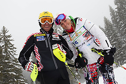 Ivica Kostelic and Janica Kostelic during last race of Andrej Jerman, Slovenian best downhill skier when he finished his professional alpine ski career on April 6, 2013 in Krvavec Ski resort, Slovenia. (Photo By Vid Ponikvar / Sportida)