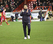 Dundee manager Paul Hartley applauds the large visiting support at the end -  Aberdeen v Dundee, SPFL Premiership at Pittodrie <br />