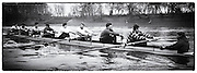 London. Great Britain.  <br /> <br /> 14.02.1987. GBR M8+, [Super Eight] training for the Head of the River Race.<br /> Bow. Terry DILLION, John MAXEY, John GARRETT, Martin CROSS, Andy HOLMES, Steven REDGRAVE, Adam CLIFT, Mark BUCKINGHAM, Cox Pat SWEENEY. <br /> <br /> [Mandatory Credit, Peter Spurrier/ Intersport Images]. 19870214 GBR Super Eight for the HORR