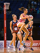 Emily Beaton with the ball for the Thunderbirds during the ANZ Championship Netball game between the Mainland Tactix v Adelaide Thunderbirds at Horncastle Arena in Christchurch. 20th April 2015 Photo: Joseph Johnson/www.photosport.co.nz