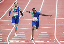 STOCKHOLM, May 31, 2019  Aaron Brown (R) of Canada competes during the men's 200m at 2019 IAAF Diamond League in Stockholm, capital of Sweden, on May 30, 2019. Aaron Brown won the 1st place with 20.06 seconds. (Credit Image: © Xinhua via ZUMA Wire)