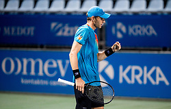 Blaz Rola of Slovenia celebrates after winning during ATP Challenger Zavarovalnica Sava Slovenia Open 2019, day 6, on August 14, 2019 in Sports centre, Portoroz/Portorose, Slovenia. Photo by Vid Ponikvar / Sportida
