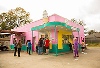 "Memphis, Tennessee- November 4, 2014: Even in the off season lines can form at Jerry's Sno Cones, which features around 70 renditions of the iconic neon confection. Customers who opt for the ""supreme"" will receive a scoop of soft serve ice cream in addition to the handcrafted syrups, which make these sno cones so popular. CREDIT: Chris Carmichael for The New York Times"