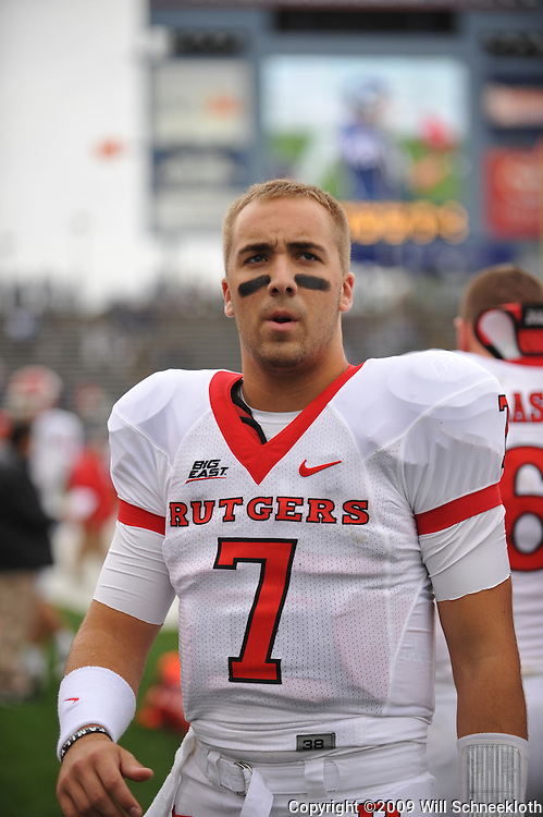 Oct 31, 2009; East Hartford, CT, USA; Rutgers quarterback Tom Savage (7) warms up before first half Big East NCAA football action between Rutgers and Connecticut at Rentschler Field.