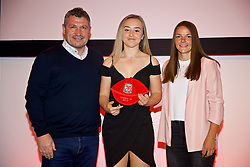 NEWPORT, WALES - Saturday, May 19, 2018: Elena Scrivens is presented with her Under-16's cap by Osian Roberts (left) and Lauren Dykes (right) during the Football Association of Wales Under-16's Caps Presentation at the Celtic Manor Resort. (Pic by David Rawcliffe/Propaganda)