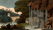 Dropping Well or Petrifying Spring, Knaresborough, Yorkshire, England.   Minerals leached from the limestone rock by water covered everything with deposit, making them seem to be turned to stone.    From 'Scenes in England' by the Rev. Isaac Taylor, London, 1822. Hand-coloured engraving.
