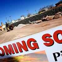 030113  Adron Gardner/Independent<br /> <br /> Construction continues at the new site of Pinnacle Bank seen on the corner of Aztec and South 1st Street in Gallup Friday.