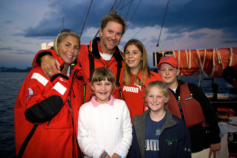 26APR09 Ken Read with his wife and daughter, nieces and nephew on the dock, after PUMA Ocean Racing arrive into their home port of Boston as they finish Leg 6 of the Volvo Ocean Race 2008-09, crossing the line at 23:12:42 GMT (19:12:42 local), finishing the leg in 4th place.