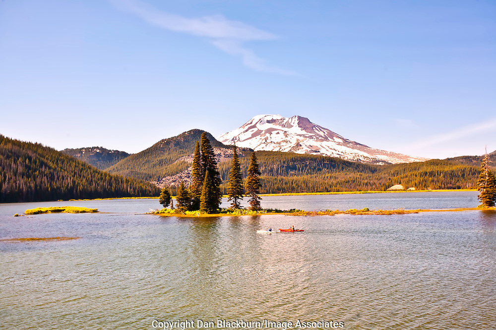 Kayaking on Sparks Lake Beneath South Sisterin the Cascade Mountains of Oregon