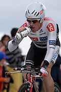 France - Tuesday, Jul 08 2008:  CSC-Saxo Bank's Stuart O'Grady (Aus) takes a drink as he comes out of a corner towards La Romagne during Stage 4 of the 2008 Tour de France cycle race.  O'Grady completed the 29.5km time trial out and back to Cholet in a time of 39 mins 41 seconds which earned him 139th place 3 mins 57 seconds behind Gerolsteiner's Stefan Schumacher.   (Photo by Peter Horrell / http://www.peterhorrell.com)