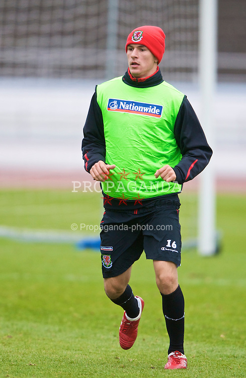HELSINKI, FINLAND - Monday, October 12, 2009: Wales' Aaron Ramsey during a training session at the Helsinki Olympic Stadium ahead of the 2010 FIFA World Cup Qualifying Group 4 match against Lichtenstein. (Pic by David Rawcliffe/Propaganda)