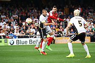 Crewe Alexandra&rsquo;s Marcus Haber heads towards goal. Skybet football league one match, Crewe Alexandra v Port Vale at the Alexandra Stadium in Crewe on Saturday 13th Sept 2014.<br /> pic by Chris Stading, Andrew Orchard sports photography.