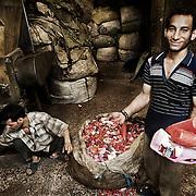 """Un joven operario """"Zabbeleen"""" muestra el material con el que trabajan en un taller de Mokattam donde se clasifica y tritura diferentes tipos de plástico. En medio del barrio de Manshiet Nasr a las afueras de El Cairo esta situado el asentamiento de Mokattam conocido como la """"Ciudad de la Basura"""" , está habitado por los Zabbaleen ,una comunidad de unos 45.000 cristianos coptos que viven desde hace varias décadas de reciclar los desperdicios que genera la capital egipcia: plástico, aluminio, papel y desechos órganicos que transforman en compost . La mayoría forman parte de la Asociación para la Protección del Ambiente (APE) una ONG que actúa en el área, cuyos objetivos son proteger el medio ambiente y aumentar el sustento de las recuperadores de basura de El Cairo. Según la ONU, el trabajo que se realiza en Mokattam como uno de los diez mejores ejemplos del mundo en el mejoramiento medioambiental. El Cairo , Egipto, Junio 2011. ( Foto : Jordi Camí )"""