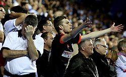 Fulham fans look dejected as they see their side lose to Reading in the Championship Playoff Semi-Final - Mandatory by-line: Robbie Stephenson/JMP - 16/05/2017 - FOOTBALL - Madejski Stadium - Reading, England - Reading v Fulham - Sky Bet Championship Play-off Semi-Final 2nd Leg