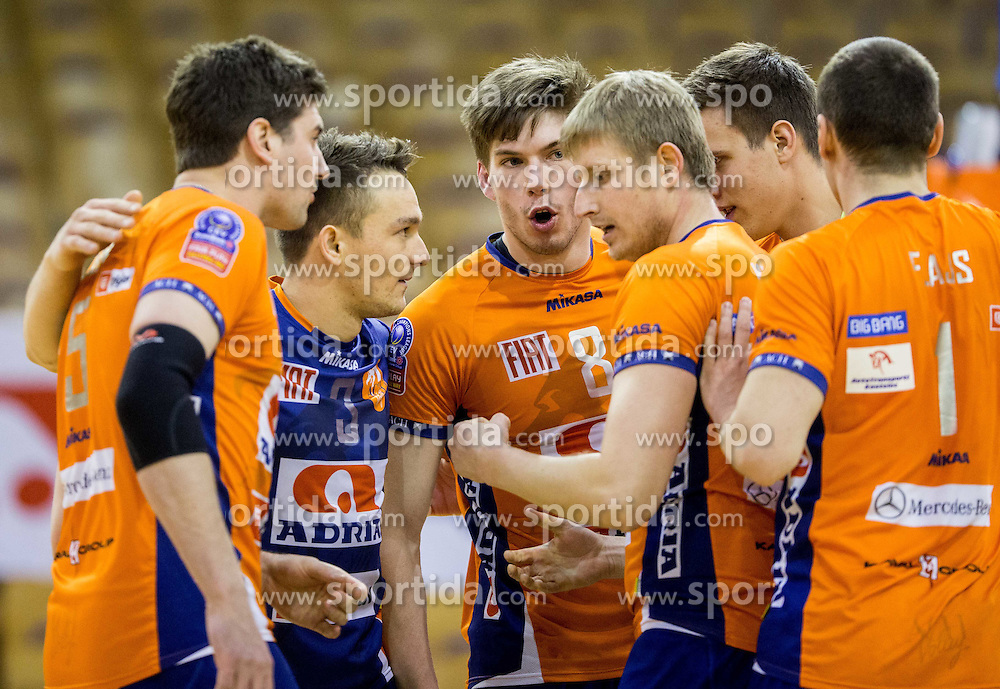 Jan Klobucar and other players of ACH during volleyball match between ACH Volley and OK Calcit Volleyball in 10th Round of Slovenian National Championship 2014/15, on March 11, 2015 in Arena Tivoli, Ljubljana, Slovenia. Photo by Vid Ponikvar / Sportida