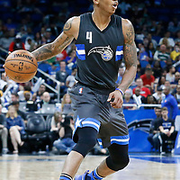 25 February 2017: Orlando Magic guard Elfrid Payton (4) dribbles during the Orlando Magic 105-86 victory over the Atlanta Hawks, at the Amway Center, Orlando, Florida, USA.