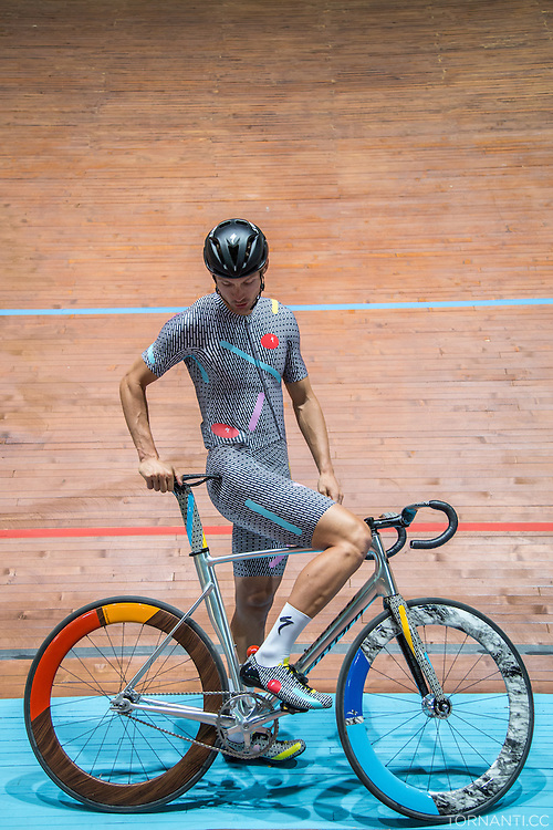 Aldo Ino Ilesic (US) poses during the &quot;Red Hook Crit Track Night&quot;, when the Vigorelli velodrome opened its doors to the riders that were in town for the upcoming RHC Milano no. 7<br />