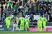 GOAL Hibernian midfielder Stevie Mallan (14)  scores to make it 1-3 and celebrates during the Ladbrokes Scottish Premiership match between St Mirren and Hibernian at the Paisley 2021 Stadium, St Mirren, Scotland on 27 January 2019.