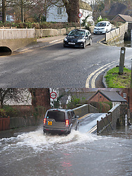 ©Licensed to London News Pictures 29/12/2019. <br /> Eynsford ,UK. Comparison pictures of Eynsford today (29.12.2019) and from flooding a week ago  (21.12.2019) People get out and about in the sunny mild weather in Eynsford,Kent as the flood water from the river Darent recedes .Photo credit: Grant Falvey/LNP