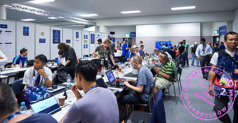 Main Press Centre during the 2014/15 UEFA Champions League Final between Juventus and FC Barcelona at Olympiastadion on June 6, 2015 in Berlin, Germany.<br /> Germany, Berlin, June 6, 2015<br /> <br /> Picture also available in RAW (NEF) or TIFF format on special request.<br /> <br /> For editorial use only. Any commercial or promotional use requires permission.<br /> <br /> Adam Nurkiewicz declares that he has no rights to the image of people at the photographs of his authorship.<br /> <br /> Mandatory credit:<br /> Photo by &copy; Adam Nurkiewicz / Mediasport