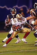 SAN DIEGO - SEPTEMBER 1:  Running back Maurice Hicks #43 of the San Francisco 49ers looks for running room against the San Diego Chargers during a preseason game on September 1, 2005 at Qualcomm Stadium in San Diego, California. The Chargers defeated the 49ers 28-24. ©Paul Anthony Spinelli *** Local Caption *** Maurice Hicks