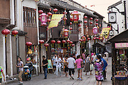 Shops and tourists in the Shantang Road area in Suzhou, China.