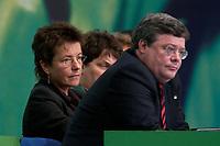 30 NOV 2003, DRESDEN/GERMANY:<br /> Angelika Beer (hinten), B90/Gruene, Bundesvorsitzende, Reinhard Buetikofer (vorne), B90/Gruene, Bundesvorsitzender,  <br /> 22. Ordentliche Bundesdelegiertenkonferenz Buendnis 90 / Die Gruenen, Messe Dresden<br /> IMAGE: 20031130-01-042<br /> KEYWORDS: Bündnis 90 / Die Grünen, BDK, Reinhard Bütikofer<br /> Parteitag, party congress, Bundesparteitag
