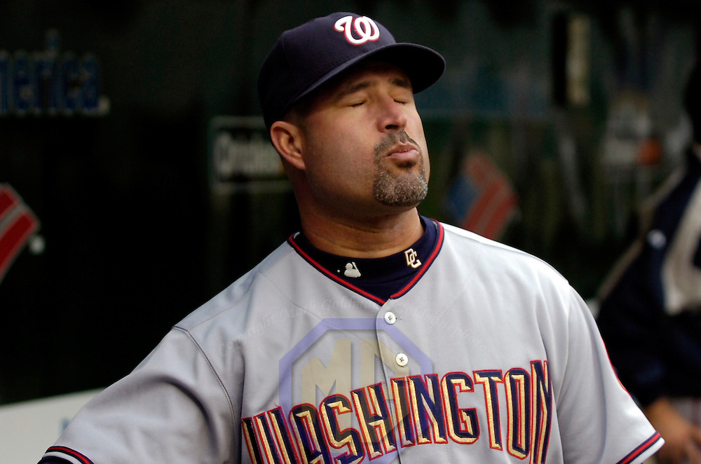 14 June 2007:  Washington Nationals manager Manny Acta has some fun in the dugout prior to the game against the Baltimore Orioles.  The Nationals defeated the Orioles 3-1 in inter-league play to sweep the three game series at Camden Yards in Baltimore, MD.   ****For Editorial Use Only****