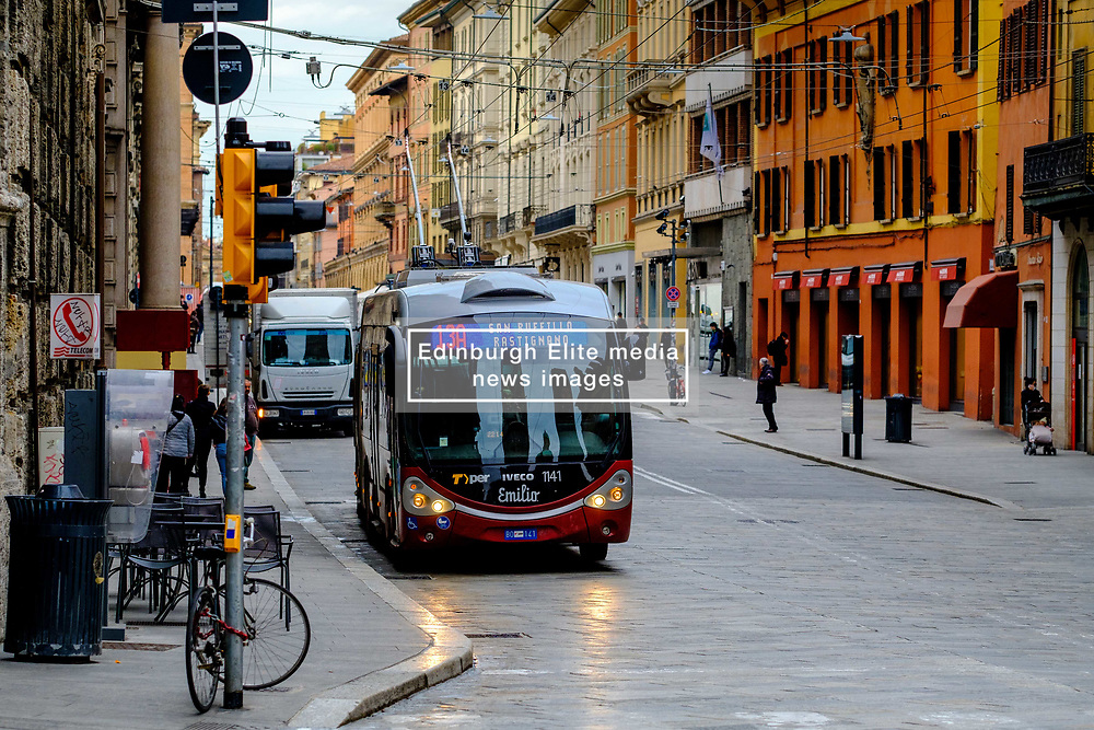 Early morning traffic in the Via Rizzoli, Bologna, Italy,<br /> <br /> (c) Andrew Wilson | Edinburgh Elite media