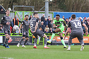 Forest Green Rovers Shawn McCoulsky(21) shoots at goal during the EFL Sky Bet League 2 match between Forest Green Rovers and Lincoln City at the New Lawn, Forest Green, United Kingdom on 2 March 2019.