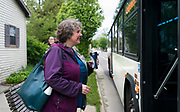 Madison Mayor Satya Rhodes-Conway gets on a Metro Transit bus on her way to meetings in Madison, WI on Thursday, May 16, 2019.