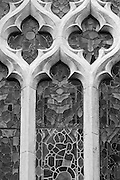 Closeup of a section of one of the windows of St Mary's Church in Bridgwater Somerset.