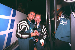VLADIKAVKAZ, RUSSIA - Tuesday, September 12, 1995: Liverpool's Neil Ruddock celebrates with physio Mark Leather after a 2-1 victory over FC Alania Spartak Vladikavkaz during the UEFA Cup 1st Round 1st Leg match at Republican Spartak Stadium. (Photo by David Rawcliffe/Propaganda)